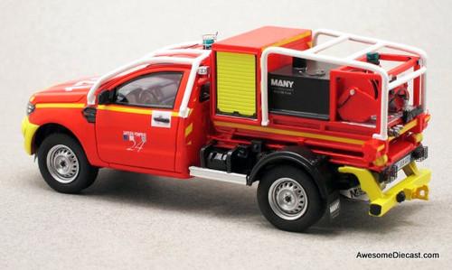 Alarme 1:43 2017 Ford Ranger Pick-Up Fire Truck: Dordogne Fire Department, France