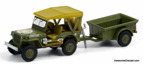 Greenlight 1:64 1943 Willys MB Jeep & 1/4 Ton Trailer