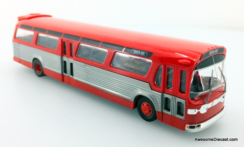 Busch 1:87 GM Fishbowl Bus, Red/Silver: South Ave