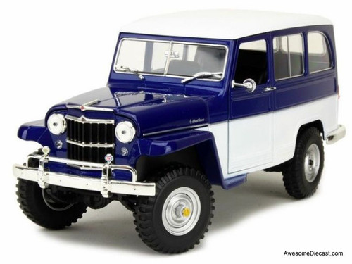 Road Signatures 1:18 1955 Willys Jeep Station Wagon Blue/White