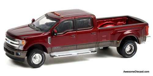Greenlight 1:64 2019 Ford F-350 Dually, Ruby Red/Stone Gray