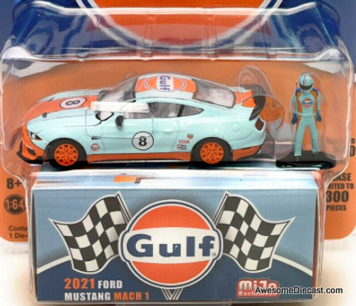 Greenlight 1:64 2021 Ford Mustang Mach 1 w/Race Driver: Gulf Oil