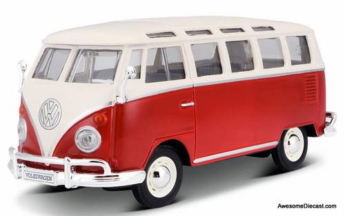 Maisto 1:25 Volkswagen Samba Van, Red/White