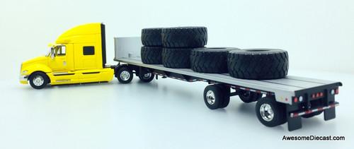 First Gear 1:64 International ProsStar Sleeper Cab w/48' Flatbed Trailer And Tire Load