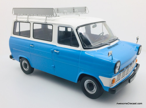 KK Scale 1:18 1969 Ford Transit Mini Bus, Blue/White