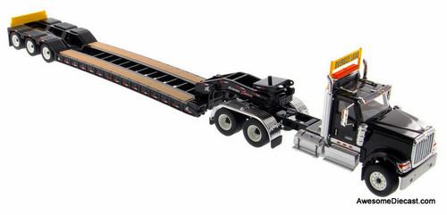 Diecast Masters 1:50 International HX520 Tandem Day Cab Tractor w/ XL 120 Lowboy Trailer, Black