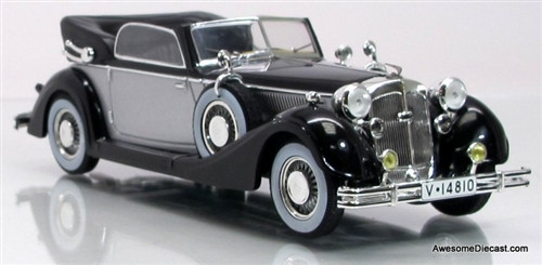 IXO 1:43 1938 Horch 853A Cabriolet: Black and Silver