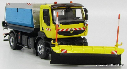 Norev 1:43 2008 Renault Kerax Snow Plow w/ Salt Spreader: Yellow / Blue