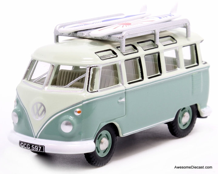 Oxford 1:76 Volkswagen T1 Samba w/Surfboards, Green/Green