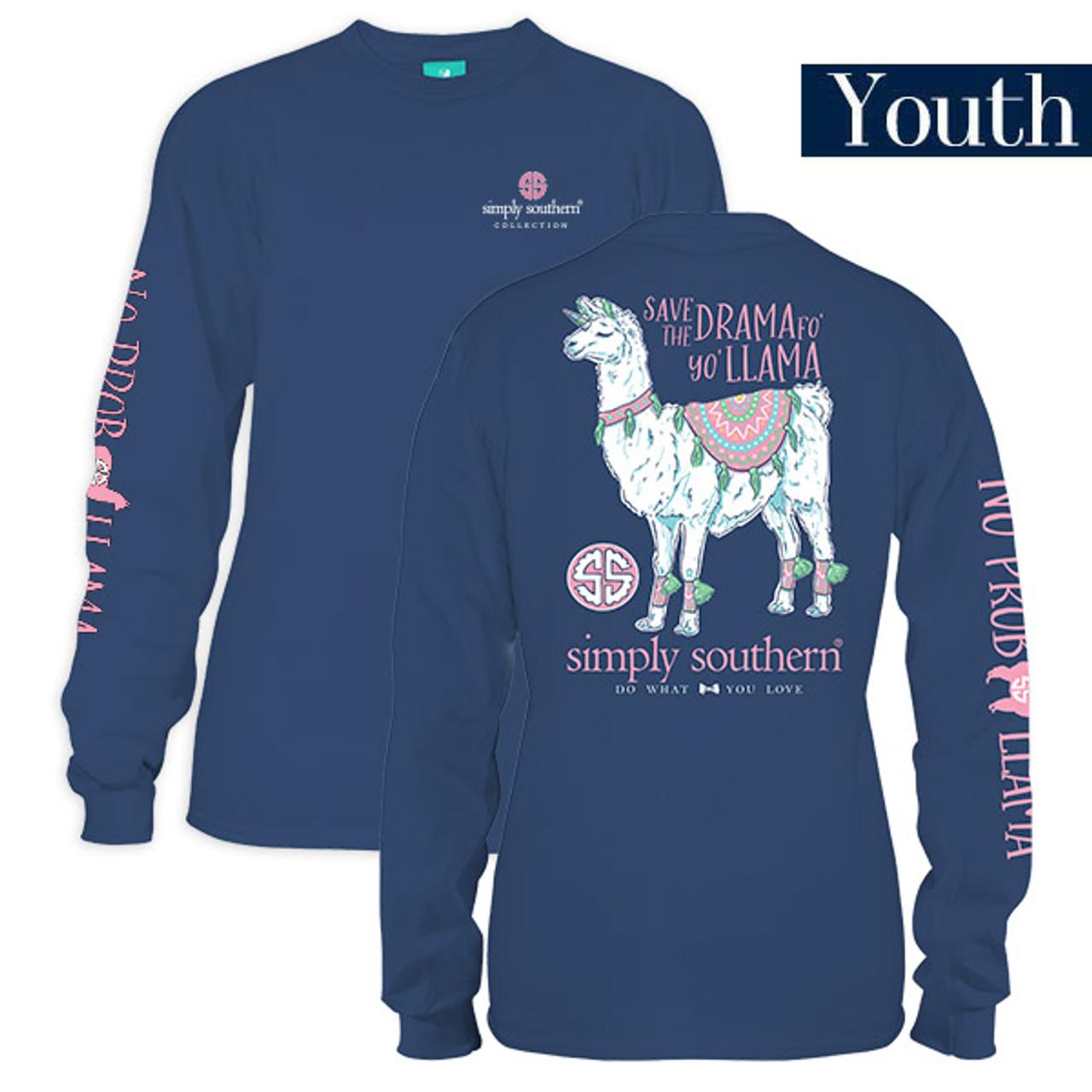 c28924011 Youth Save The Drama Llama Long Sleeve Simply Southern Tee Shirt ...
