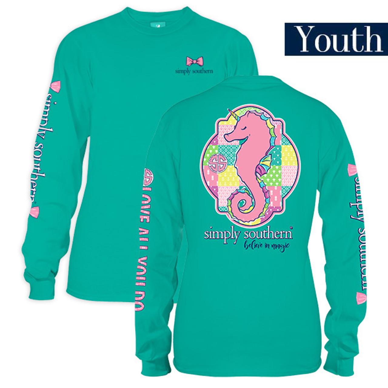 4cf1b5e4a8b7 Youth Sea Unicorn Seahorse Long Sleeve Simply Southern Tee Shirt ...