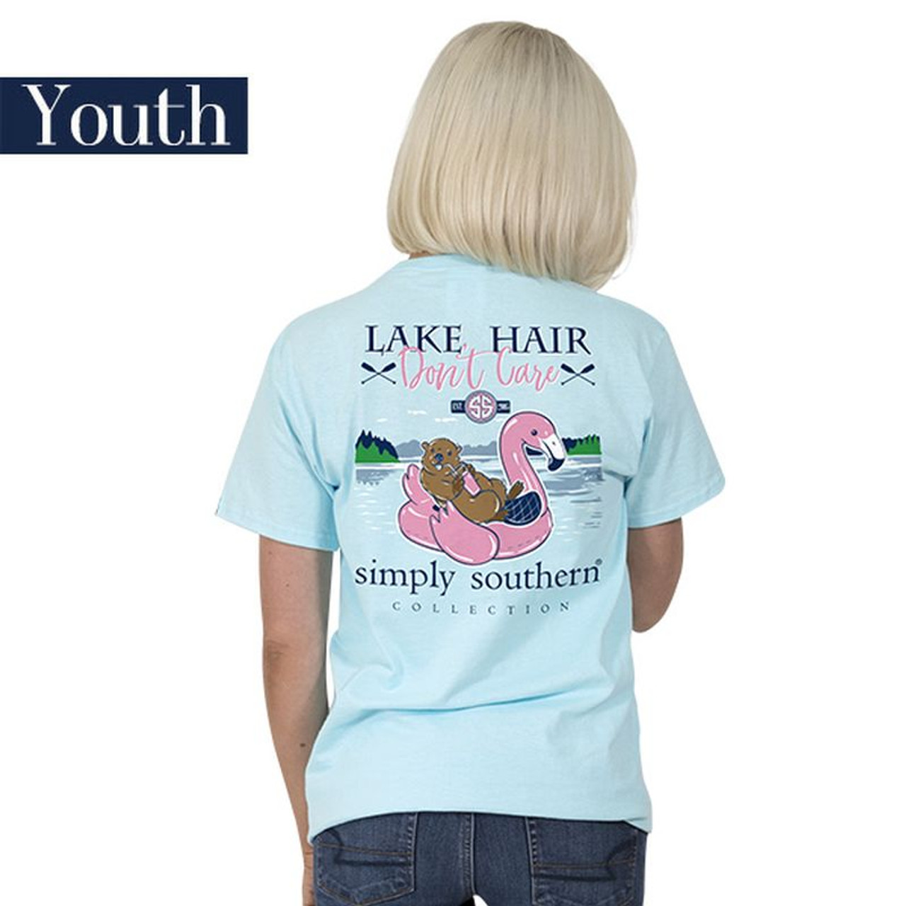 afd8c71571aa YOUTH Lake Hair Don t Care Flamingo 2018 Simply Southern Tee Shirt ...