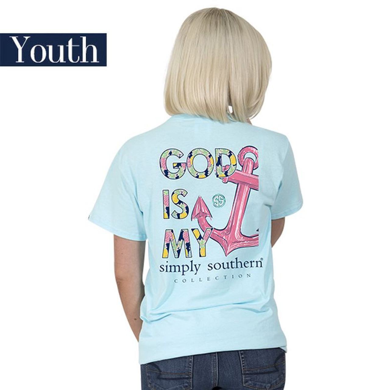 2b0592c1f979 YOUTH God Is My Anchor 2018 Simply Southern Tee Shirt - OutdoorWood