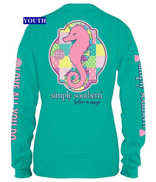 89e906952f59 YOUTH Sea Unicorn; Youth Sea Unicorn Seahorse Long Sleeve Simply Southern Tee  Shirt ...
