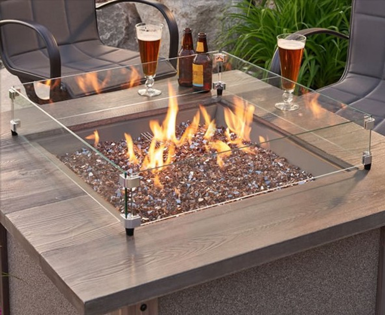 Gas Fire Pit Square Wind Guards Rocky Mountain Stove Fireplace