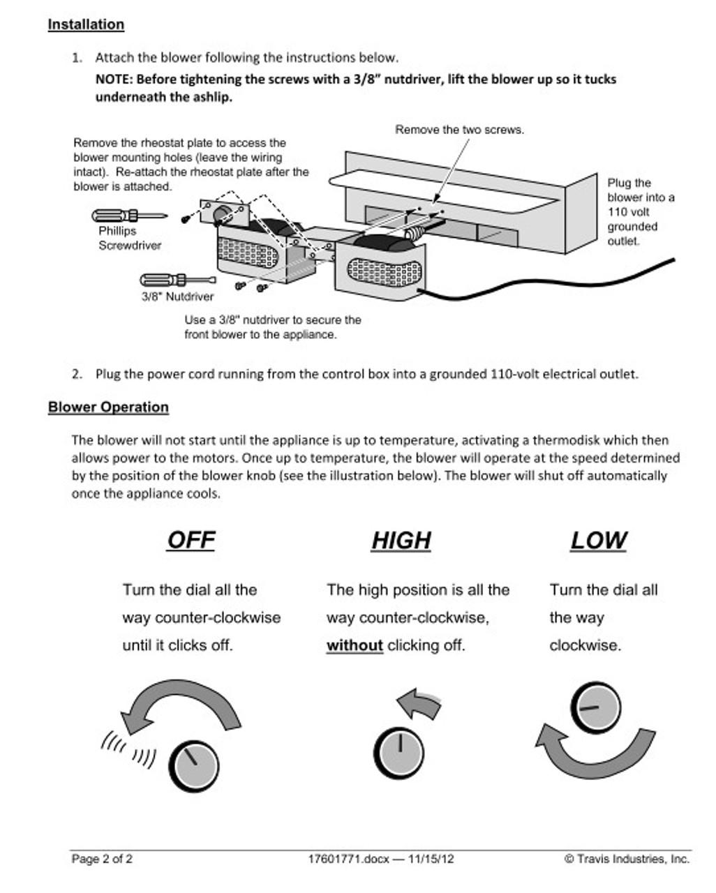Lopi / Avalon Wood Insert Blower 99000123