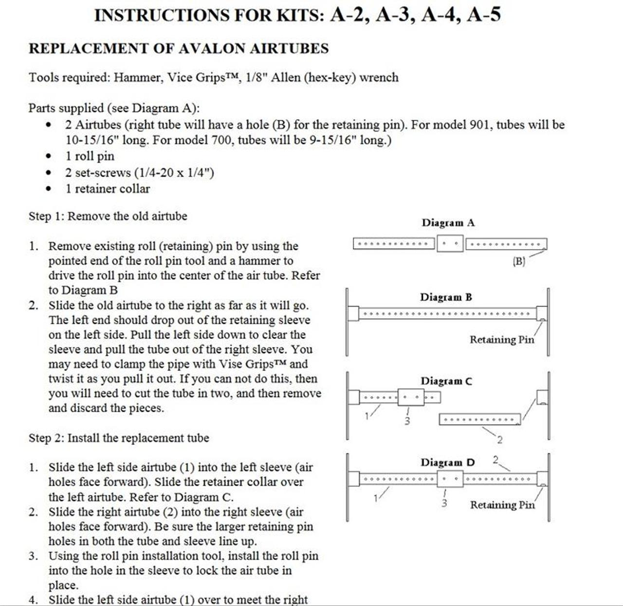 Avalon 98900202 Airtube Kit