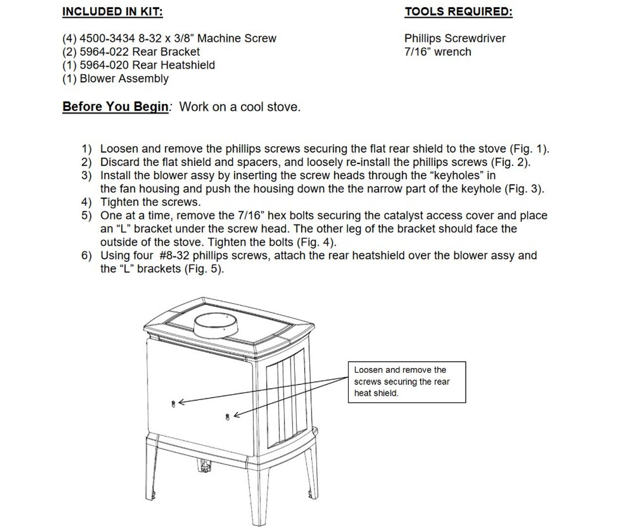Hearthstone 96-57400 Blower Kit
