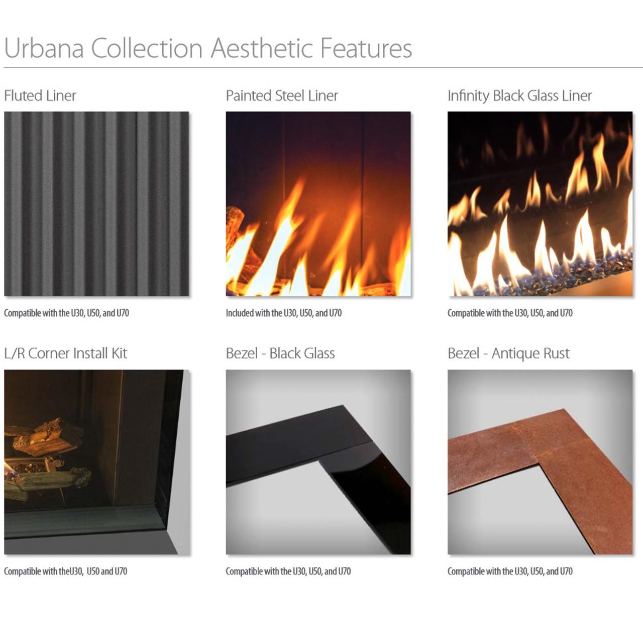 Urbana U30 Luxury Gas Fireplace options