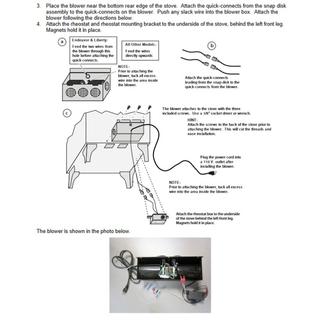 Lopi & Avalon Wood Stove Blower 99000118