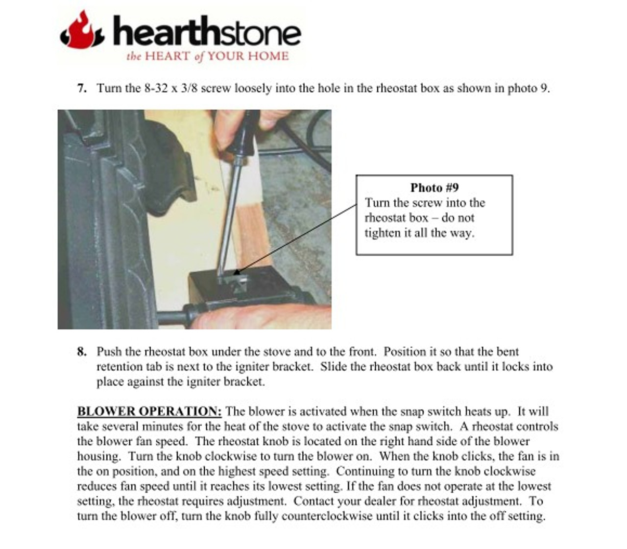 HearthStone Tribute Gas Stove Blower