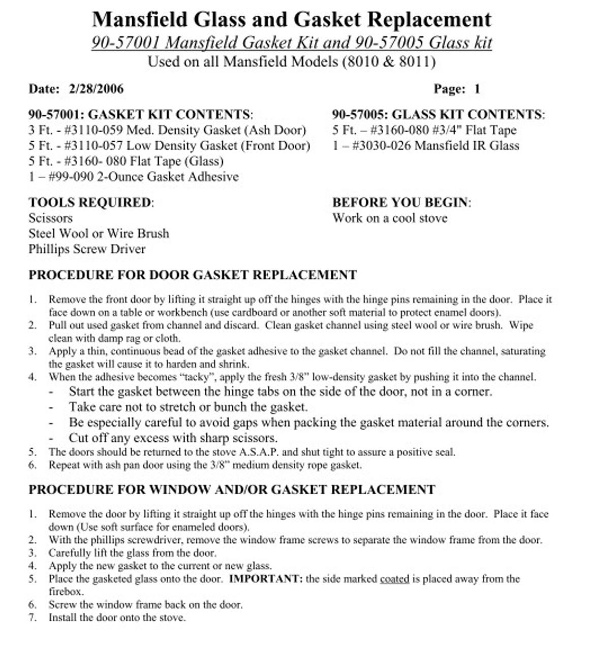 HearthStone Mansfield Gasket Kit 90-57001