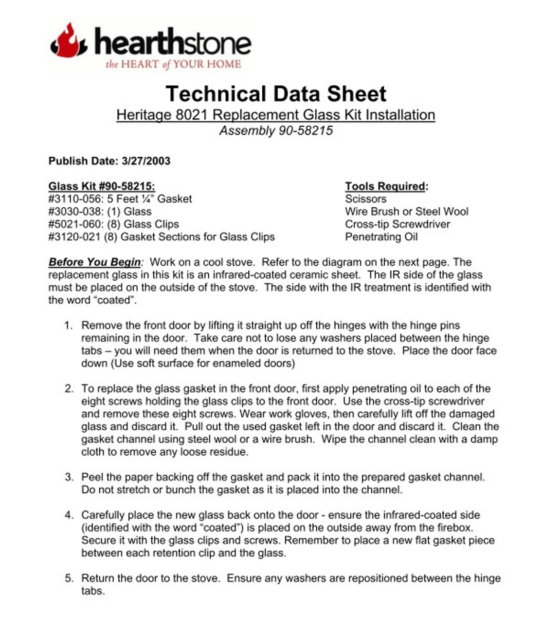 HearthStone Heritage 8021,8022,8023 Glass Kit 90-58215