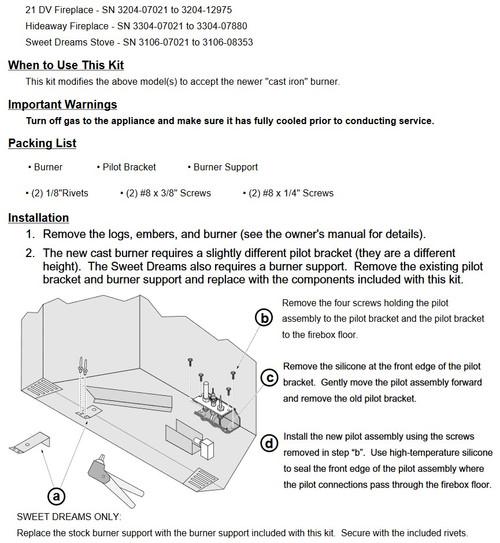 21DV / Hideaway Burner Kit