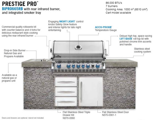Napoleon Prestige PRO 665 Built-In  Grill Head