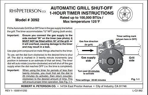 Gas Line Automatic Shut Off Timer 3 Hour