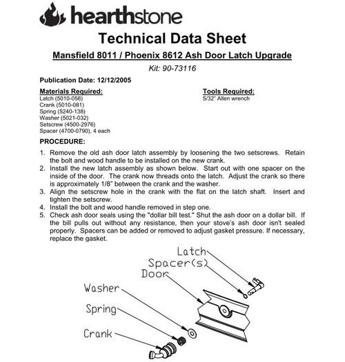 HearthStone 90-73116 Ashpan Latch