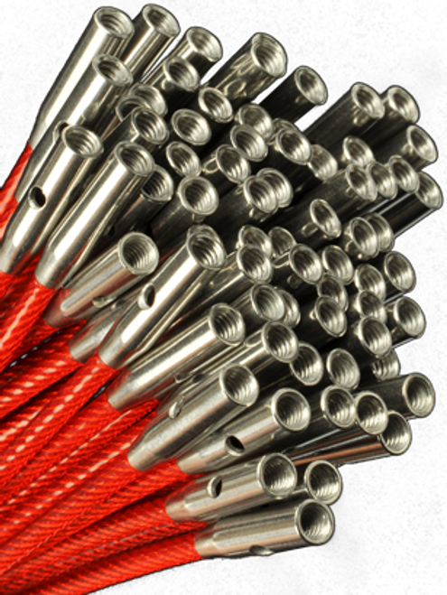 TWIST cables are memory-free! They consist of a multi-strand, steel cable coated with red nylon. Lifeline holes can be found at each end of these cables. Insert the T-shaped tightening key into the lifeline hole to assist with securing your tip/cable connection.