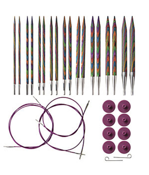 "Set Includes Rainbow Interchangeable Needle Tips (Needle tip length is 4-3/4"") US Sizes: 4,5,6,7,8,9,10,10.5 and 11 (3.50mm, 3.75mm, 4.00mm, 4.50mm, 5.00mm, 5.50mm, 6.00mm, 6.50mm, and 8mm) Cables 2 each of 24"" and 32"" lengths Accessories 9"" x 5"" snapped clear vinyl needle case, 8 end caps and 2 cable keys Looking to expand your interchangeable knitting needle set? We have additional sizes of both needle tips and interchangeable cables available for even more options. Pro tip: The sizing of the cables refer to the total length achieved when the needle tips are attached to the cables."