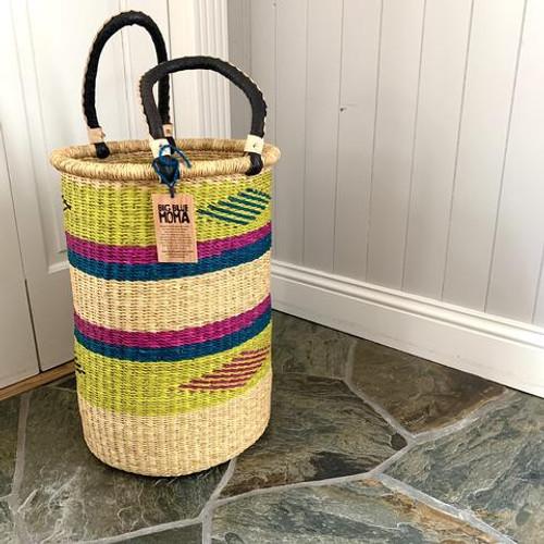 Large Laundry Basket - Chartreuse, Navy & Purple