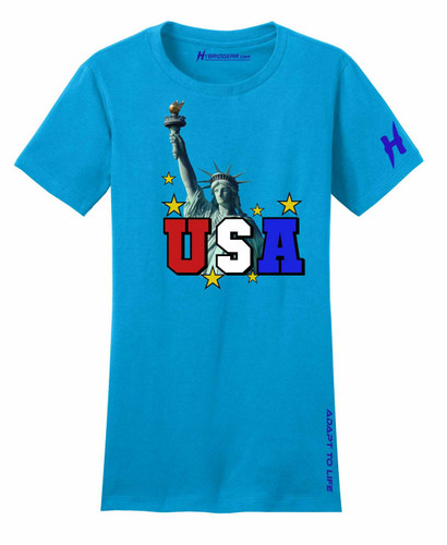 Statue of Liberty USA Independence Day Ladies Fitted T-Shirt