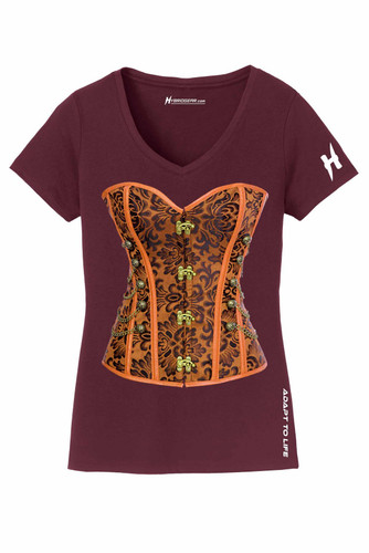 Steampunk Corset Ladies V-Neck T-shirt