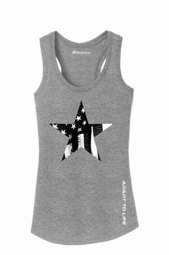 American Flag Star Ladies Racerback Tank Top