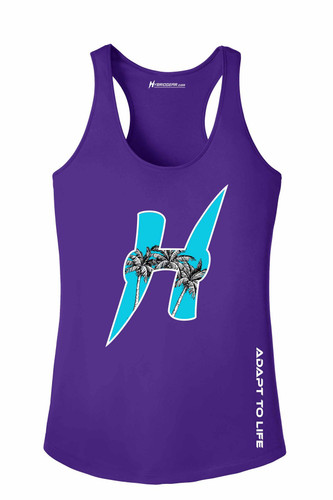 Palm Trees Ladies Moisture Wicking Racerback Tank Top