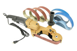 BLUEROCK Model 40B + 25 Belts Pipe Sanding Polishing Machine Portable Handheld Stainless Belt Grinder