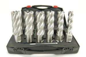 """BLUEROCK Annular Cutter 2"""" Set - 6 Piece HSS Broach Kit  w/ Centering Pin"""
