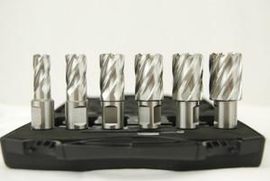 """BLUEROCK Annular Cutter 1"""" Set - 6 Piece HSS Broach Kit w/ Centering Pin"""