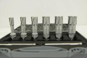 "BLUEROCK 6 Piece Set 1-3/8"" Depth Tungsten Carbide Tip (TCT) Annular Cutter Bits Kit for Magnetic Drill"