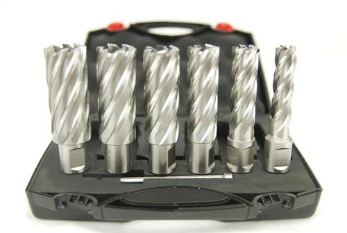 """BLUEROCK Annular Cutter 2"""" Set - 6 Piece HSS Broach Set w/ Centering Pin"""