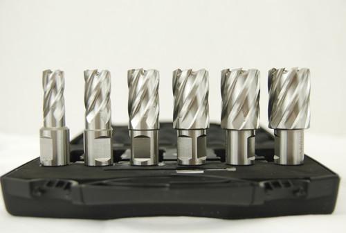 """BLUEROCK Annular Cutter 1"""" Set - 6 Piece HSS Broach Set w/ Centering Pin"""