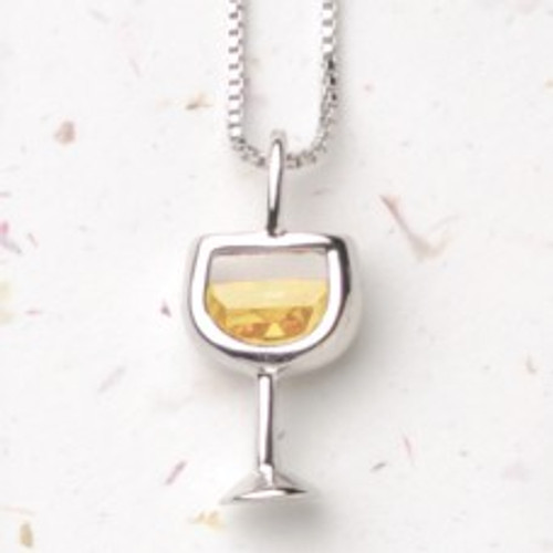 White Wineglass Necklace