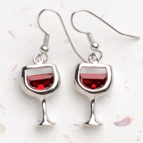 Red Wineglass Earrings