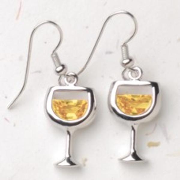 White Wineglass Earrings
