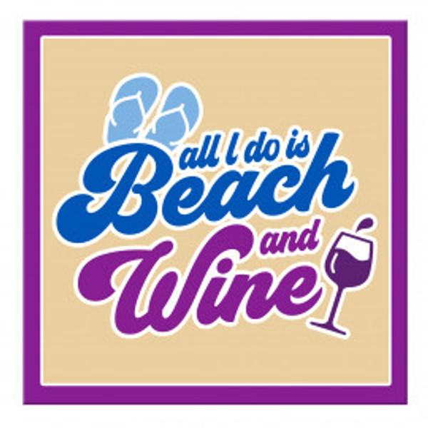 """Beach & Wine"" Magnet"
