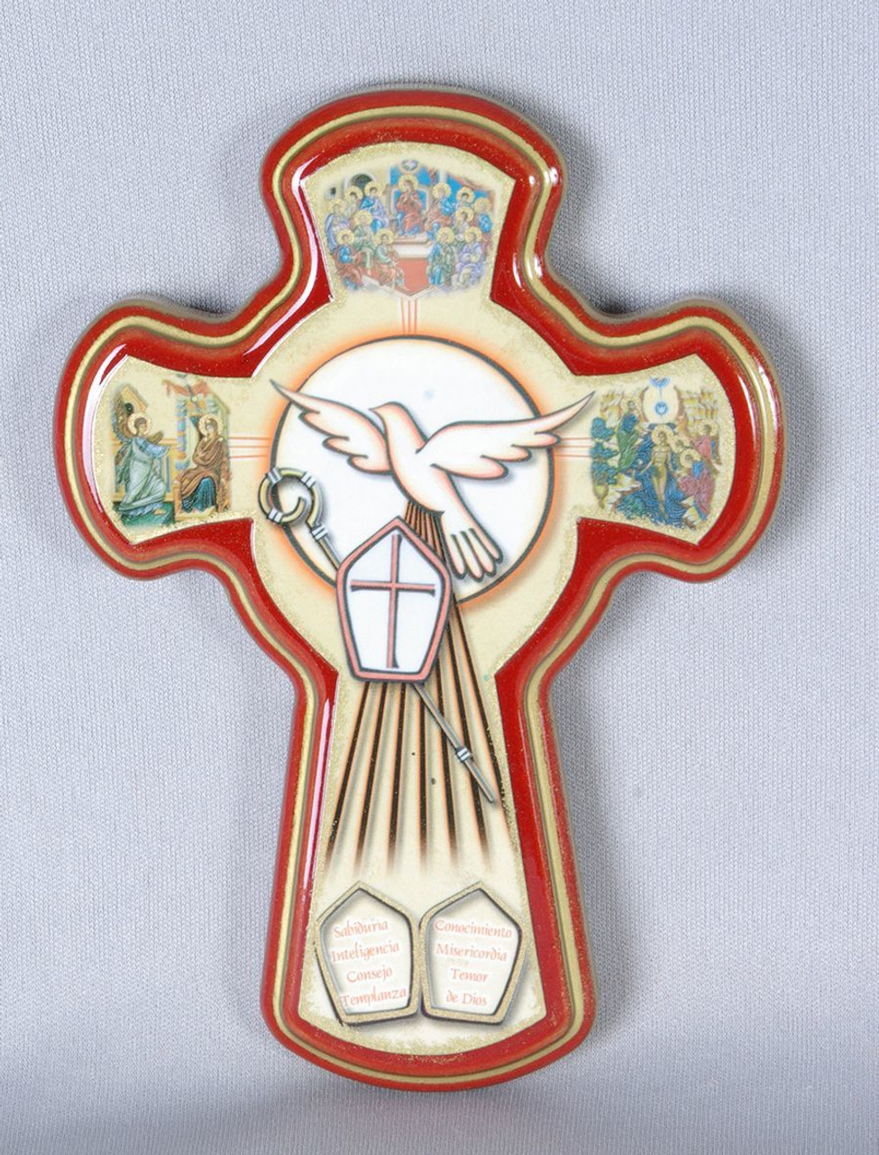 The Spirit of the Lord 4 3//4 Inch Wood Confirmation Cross with Holy Dove