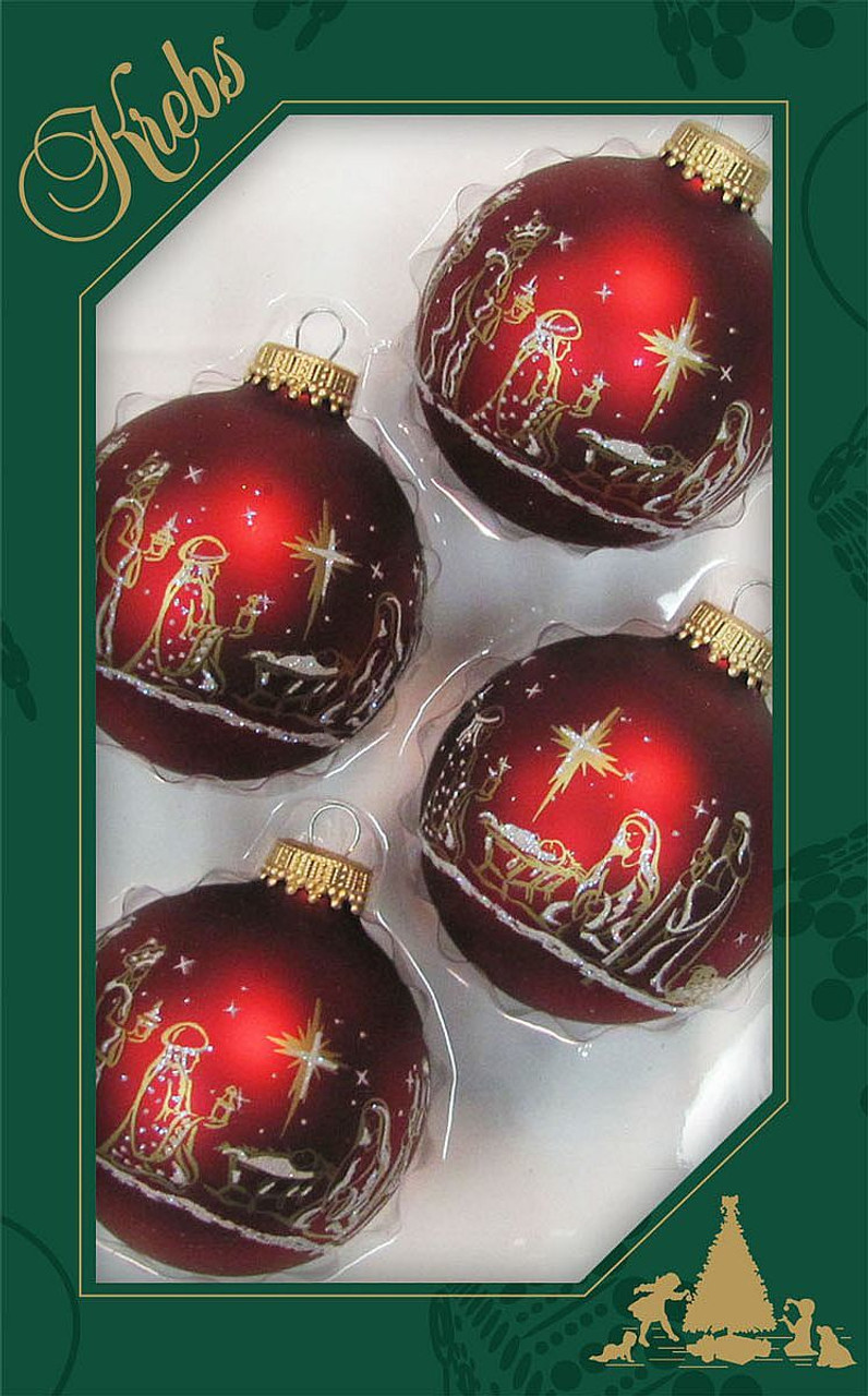 Red Christmas Ornaments.Sold Out 2018 Nativity Christmas Ornament Red Gold Silver 2 5 8 Set Of 4
